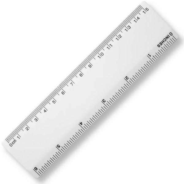 15cm Plastic Ruler - White